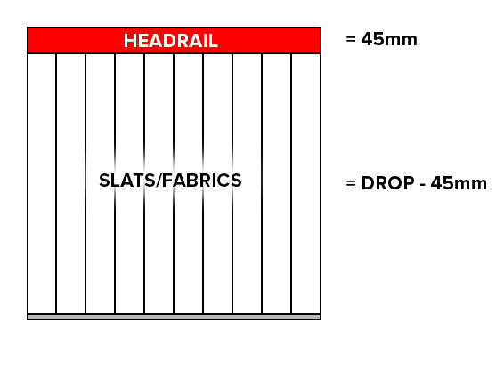 vertical blinds -diagram of exact blind size measuring method