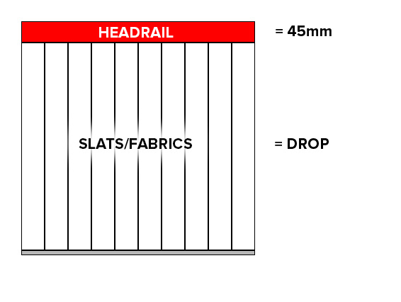 vertical blinds -diagram of hem to hem measuring method