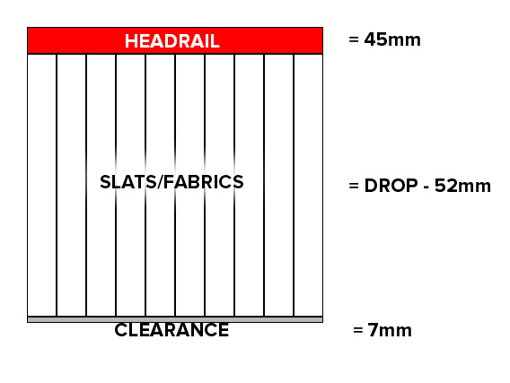vertical blinds -diagram of recess measuring method