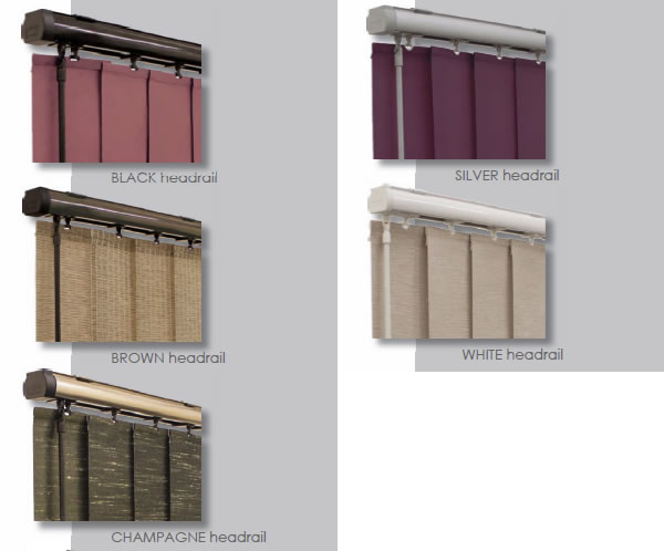 selection of vertical headrail colours from Rainbow Blinds